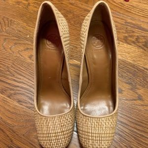 Tory Burch leather and wicker heels